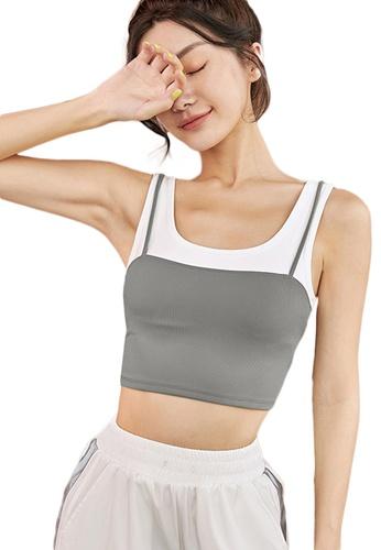 Sunnydaysweety grey Wide Shoulder Fake-Two-Piece Shockproof Yoga Sports Bra A21031707GY 9F767US08AD61AGS_1