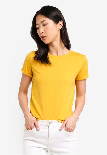 ZALORA BASICS yellow Basic Rolled Sleeves Crew Neck T-Shirt A368CAAD94B739GS_1