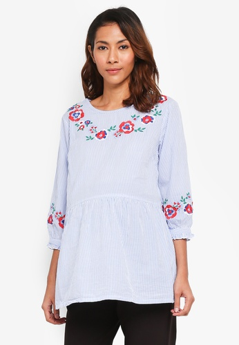 JoJo Maman Bébé blue Maternity Embroidered Blouse 380FCAA2C19850GS_1