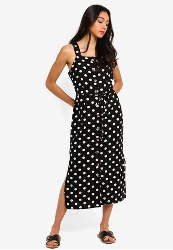 667ab6431c660 Miss Selfridge black Black Spot Print Pinafore Dress 38330AA5198B84GS_1
