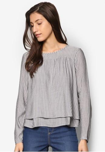層次下擺條紋長袖T-shirt、 服飾、 上衣ESPRIT層次下擺條紋長袖上衣最新折價