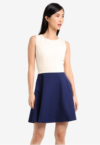 ZALORA white and multi and navy Fit and Flare Print Dress 0FA66AA4280412GS_1