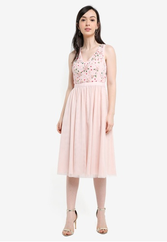 French Connection pink Palma Sparkle Midi Dress 3C844AA9B11C56GS_1