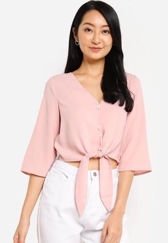 ZALORA BASICS pink Tie Front Blouse BD561AAC1E5F5EGS_1