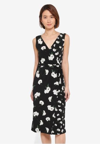 WAREHOUSE black Orchid Print Wrap Dress 6DF11AA2CE12A1GS_1
