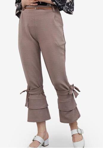 Berrybenka brown Stena Tied Bottom Pants C884DAAD0DF13AGS_1