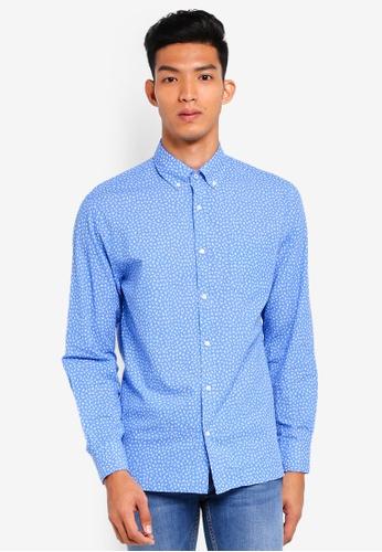 MANGO Man blue Regular-Fit Floral Print Shirt 3360DAA2B6336FGS_1