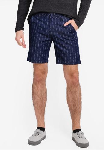 Penshoppe blue and navy Regular Fit Printed Chino Shorts PE124AA0SN1BMY_1