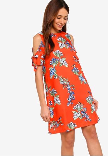 ZALORA red and multi Round Neck Lace Shift Dress 5CDF4AA9DDDAD8GS_1