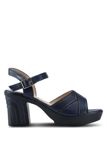 Noveni 海軍藍色 雙色繞帶粗跟涼鞋 3E91FSH4CF27DAGS_1