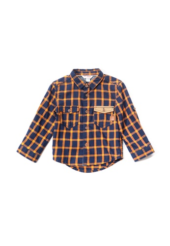 PONEY orange Poney Baby Antonio Checkered Detailed Pocket Long Sleeve Shirt 26E8AKA6B1DB36GS_1