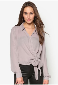 Tie Front Cropped Blouse