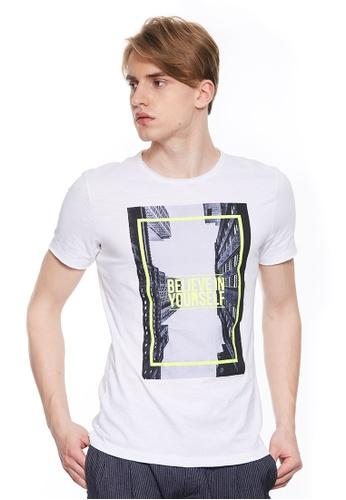 Sisley white Printed T-shirt. AA4C3AA2976486GS_1