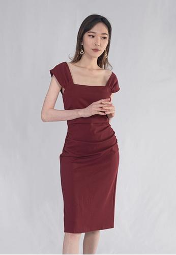 BEBEBEIGE red BebeBeige Slim Fit Square Neckline Midi Dinner Dress E42A5AAA848021GS_1