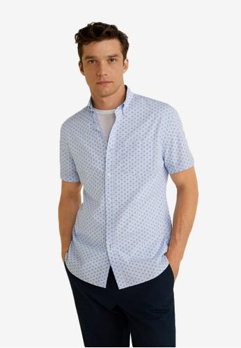 Mango Man 藍色 標準剪裁 印花棉 襯衫 EA29EAAB97B7B2GS_1