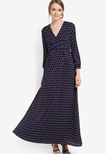 V領長esprit hk outlet袖連身長裙, 服飾, 洋裝