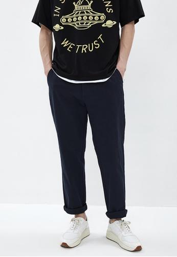 URBAN REVIVO blue Plain Trousers 82B9AAA611DCAEGS_1