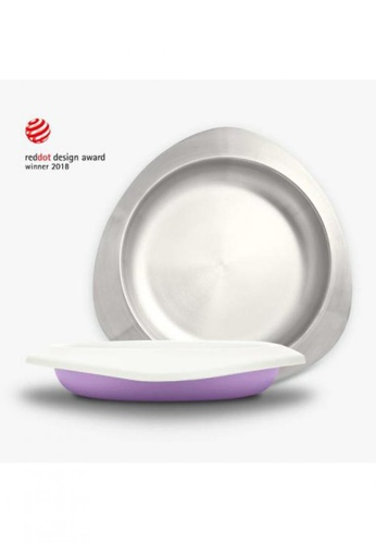 Viida [VIIDA] The Soufflé Kids Antibacterial Stainless Steel Plate with Lid 550ml/18.6oz , Lavender Purple - Eco-Friendly, Safe, FDA Certified, SGS Tested 6C504HL80D98A4GS_1