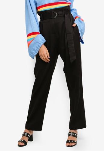 Glamorous black Paperbag Waist Pants 9006BAAEADBEF3GS_1