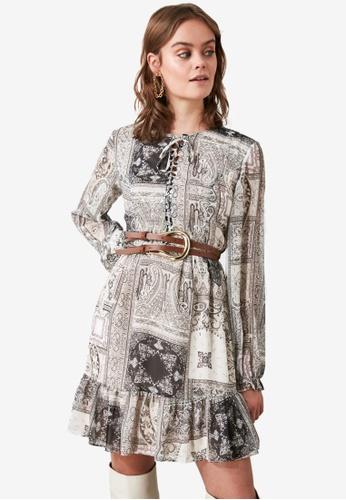 Trendyol multi Belted Paisley Pattern Dress 8AEA1AA0AA2132GS_1