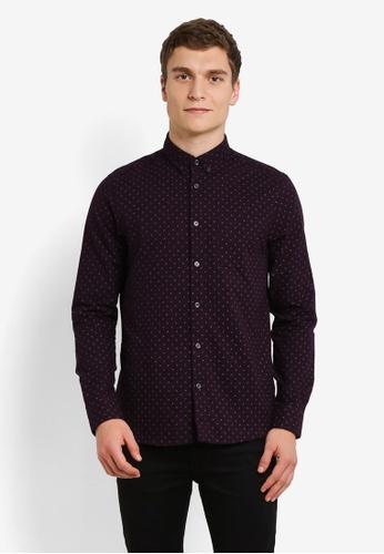 Burton Menswear London red Burgundy Long Sleeve Geometric Print Oxford Shirt BU964AA0RZGOMY_1