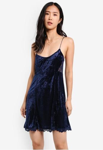 Free People blue and navy Cheeky Velvet Mini Dress FR659AA0S3N6MY_1