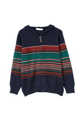 Its Me multi and navy Ethnic Striped Hooded Knitted Jacket 8BB06AA8F6AD30GS_1