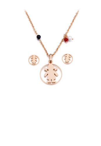Glamorousky silver Simple and Cute Plated Rose Gold Little Girl Geometric Round 316L Stainless Steel Necklace and Stud Earring Set 95926ACED63815GS_1