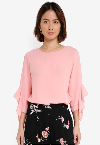 Dorothy Perkins pink Coral Ruffle Sleeve Top 76A97AA9F97D1BGS_1