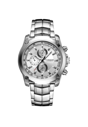 curren silver Curren 8025 Men's Business Casual Stainless Steel Classic Watch (White) CU537AC80TCHMY_1