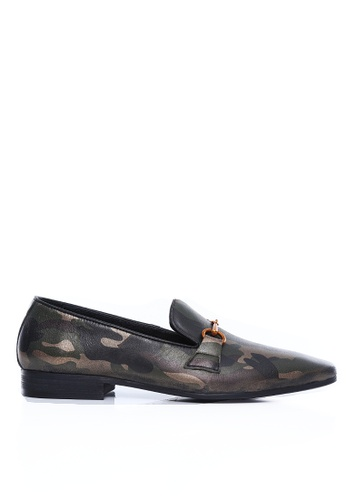 Zeve Shoes green Zeve Shoes Loafer Slipper - Camouflage Leather Brass Horsebit Buckle 01C45SHFE7B0BBGS_1