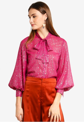 bYSI red Neck-Tie Shimmer Blouse 0D608AA9DE90F0GS_1