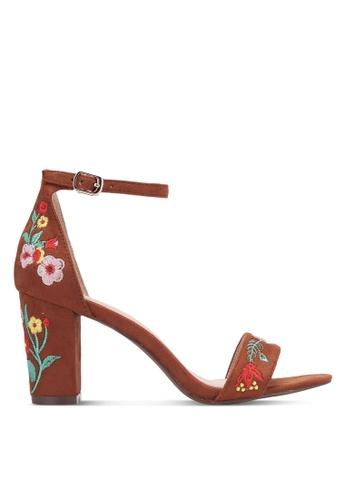 VINCCI brown Embroidered Strap Heels VI831SH0S52RMY_1