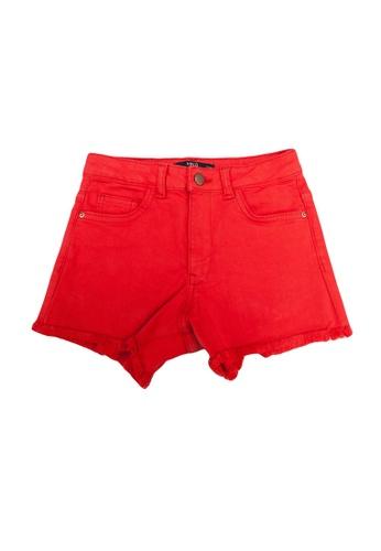 MANGO KIDS red Frayed Hem Denim Shorts C40B0KA0AFF39DGS_1