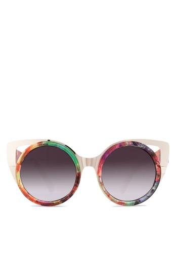 JP0072 多色印花貓眼太陽眼鏡, 飾品配zalora 心得 ptt件, 飾品配件