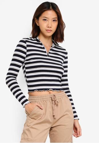 Cotton On multi Alana Mock Neck Zip Long Sleeve Top E4D0FAAC486A02GS_1