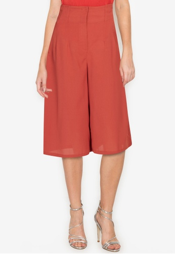 ZALORA WORK orange Self Tie Wide Leg Culottes 946E8AA30D89CCGS_1