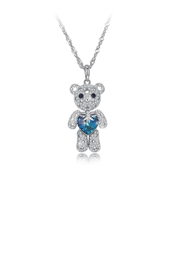Glamorousky white 925 Sterling Silver Fashion Cute Bear Pendant with Blue Austrian Element Crystal and Necklace 790CBACC266BD9GS_1