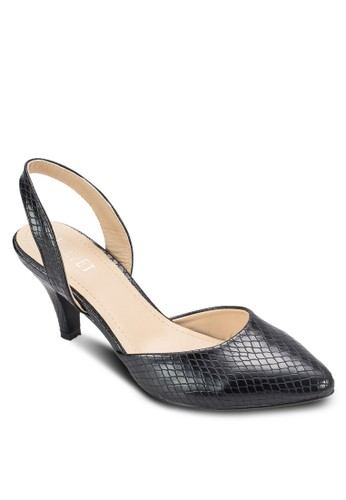 Madelyn 蛇紋尖頭繞踝中跟鞋esprit分店, 女鞋, 鞋
