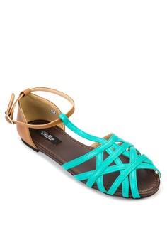 Julia Ankle T-Strap Flat Sandals