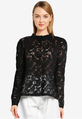 Vero Moda black Aurelia Long Sleeves Lace Top 2ACCCAABF8409DGS_1