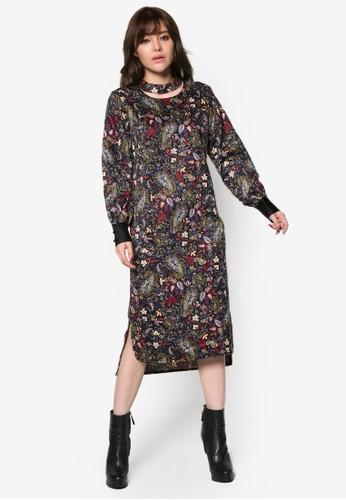 鏤空印花長袖直筒連身裙, 服飾, esprit china洋裝