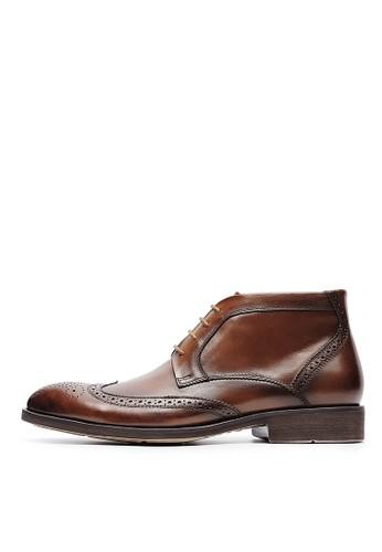 頭層油蠟牛esprit 京站皮。英式牛津雕花短靴-04622-咖色, 鞋, 靴子