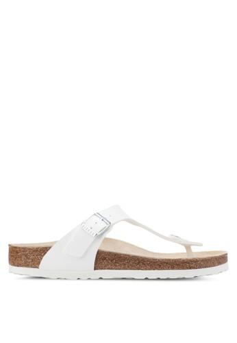 Birkenstock white Gizeh Birko-Flor Sandals BI090SH0UCZMID_1