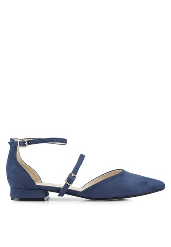 ZALORA 海軍藍色 Mary Jane Flats With Ankle Strap F76CBSH319AF1AGS_1