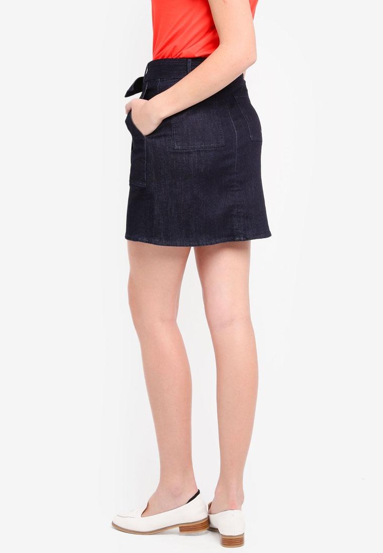 Dark Banana Denim Utility Republic Mini Belted Rinse Skirt nqAY8rA6