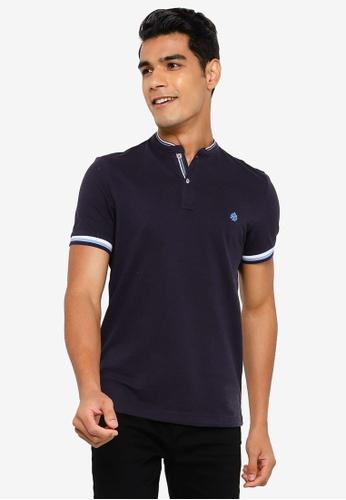 Springfield navy Slim Fit Mandarin Collar Polo Shirt C8938AA14997C6GS_1
