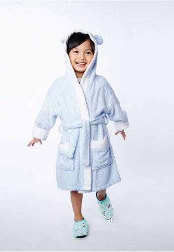 Cheekaaboo blue Kids Boy Bamboo Hooded Bear Embroidery Bathrobe 64044KC549C94AGS_1
