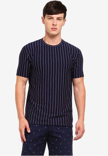 Penshoppe 海軍藍色 條紋印花T恤 9F3D2AA32E1E2DGS_1