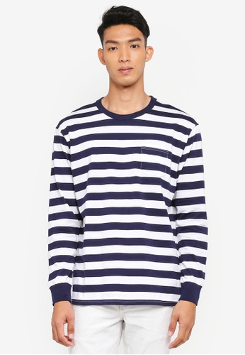 Cotton On 白色 and 海軍藍色 長袖條紋T恤 B597CAA1751447GS_1
